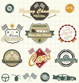 Vector Set: Retro Car Racing etiquetas e iconos
