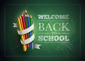 Welcome back to school. Vector illustration.  Elements are layered separately in vector file. Easy editable.