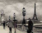 Drawing of a view of Alexander III bridge in Paris showing Eiffel tower. Nightfall  on a rainy autumn-winter day - Vector illustration.