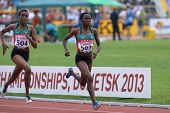 DONETSK, UKRAINE - JULY 14: Chepngetich (right) and Jepkemei, both of Kenya, fight for medals in the