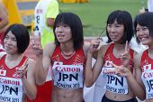 DONETSK, UKRAINE - JULY 14: Team Japan win bronze in the final round of medley relay during 8th IAAF
