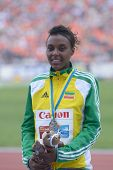 DONETSK, UKRAINE - JULY 14: Silver medalist in 800 metres Dureti Edao of Ethiopia on the medal cerem