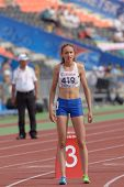 DONETSK, UKRAINE - JULY 14: Gold medalist Anita Hinriksdottir of Iceland before the final on 800 meters during 8th IAAF World Youth Championships in Donetsk, Ukraine on July 14, 2013