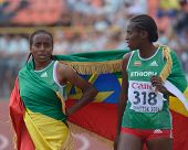 DONETSK, UKRAINE - JULY 14: Ansa (left) and Mohamed of Ethiopia with national flag after the final o