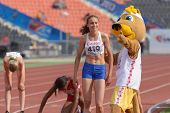 DONETSK, UKRAINE - JULY 14: World Youth Champion in 800 meters Hinriksdottir, Iceland accept congrat