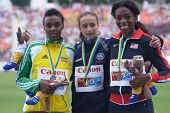 DONETSK, UKRAINE - JULY 14: Medalists in 800 metres on the medal ceremony during 8th IAAF World Yout