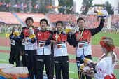 DONETSK, UKRAINE - JULY 14: Team Japan win bronze in the medley relay during 8th IAAF World Youth Ch