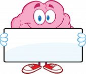Brain Cartoon Character Holding A Banner