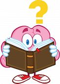 Surprised Brain Character Reading A Book With Question Mark