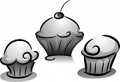 Illustration of Cupcakes in Black and Whiite