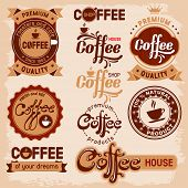 Set of coffee badges and labels in vintage style.