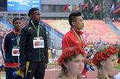 DONETSK, UKRAINE - JULY 13: Medal ceremony in 110 m hurdles during 8th IAAF World Youth Championship