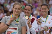 DONETSK, UKRAINE - JULY 13: Medalists in the hammer throw on the medal ceremony during 8th IAAF Worl