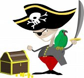 image of peg-leg  - a pirate with a parrot and chest of treasure - JPG