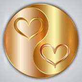 stock photo of yin  - Vector round yin yang medallion with hearts and gold frame - JPG