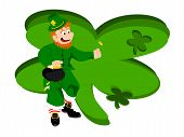 leprechaun coin large clover background