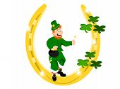 leprechaun gold horseshoe green clover