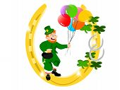 leprechaun balloons gold horseshoe