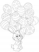 foto of cony  - Little rabbit with balloons decorated like Easter eggs - JPG