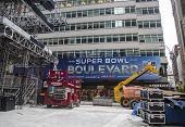 Super Bowl Boulevard construction underway on Broadway during Super Bowl XLVIII week in Manhattan