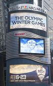 Comcast NBC Universal billboard decorated with Sochi 2014 XXII Olympic Winter Games logo