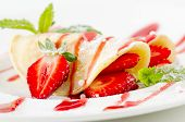 image of crepes  - French Crepes With  fresh berries and sweet sauce - JPG