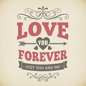 Wedding Typography Love You Forever Vintage Card Background Design