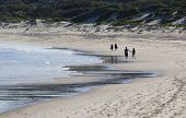 Two Couples Walk On A Beach. Fingal Bay. Port Stephens. Australia.