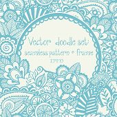 Vector set: seamless hand-drawn pattern and frame.