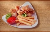 stock photo of wanton  - french fries and fried wanton on the studio lighting - JPG