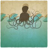 Vintage marine background with octopus