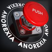 foto of anorexia  - Red push button over black background blur effect - JPG