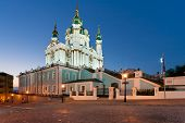 Andreevsky Church at night in Kiev