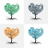 Vector Heart Shaped Tree With Roots Set