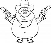 Black And White Cowboy Pig Cartoon Character Holding Up Two Revolvers