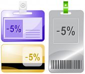 -5%. Id cards. Raster illustration.