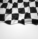 Checkered black and white flag. Copy space