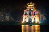 Turtle tower or Tortoise tower in Hoan Kiem lake in Hanoi, Vietnam