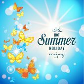 Summer sky and butterflies background with place for text. Vector illustration