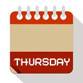 foto of thursday  - Thursday Vector Paper Calendar Illustration on White Background - JPG