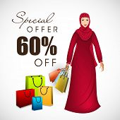 Special 60% off banner design with religious Muslim girl holding shopping bags on occasion of Eid Mu