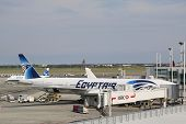 EgyptAir Boeing 777 aircraft at the gate at John F Kennedy International Airport