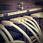 Patch Panel Server Rack With Gray Cords