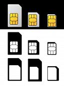 picture of micro-sim  - vector sim card standard micro nano adapter - JPG