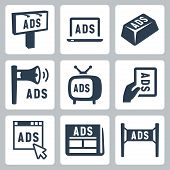Vector Isolated Advertisment Icons Set