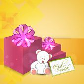 Colorful pink gift boxes and teddy bear on yellow background for Muslim community festival Eid Mubar
