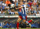 BARCELONA - MAY, 11: Gabriel Torje of RCD Espanyol during the Spanish League match between Espanyol and Osasuna at the Estadi Cornella on May 11, 2014 in Barcelona, Spain