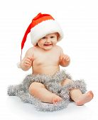 Naked baby in Santa Claus red