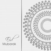 Beautiful floral design decorated Eid Mubarak greeting card.