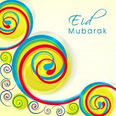 Colorful floral design decorated greeting card for Muslim community festival Eid Mubarak celebration